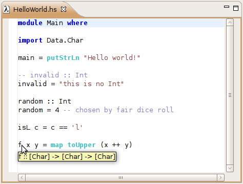 A tooltip showing the inferred type of a function